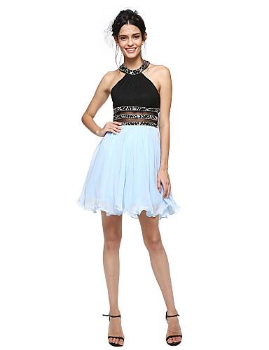 Linha A Decorado com Bijuteria Curto / Mini Algodão Coquetel Reunião de Classe Baile de Fim de Ano Vestido com Miçangas de TS Couture®