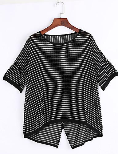 Dame Simpel I-byen-tøj Normal Pullover Stribet,Hvid / Sort Rund hals Kortærmet Bomuld / Polyester Sommer Tynd