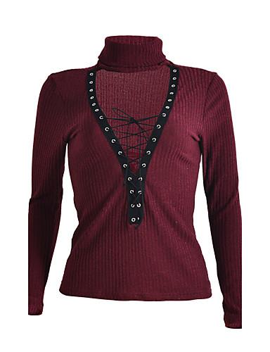 Damen Standard Pullover-Klub Sexy Solide Blau Rot Weiß Schwarz Braun Grau Grün Tiefes V Langarm Polyester Herbst Winter Mittel