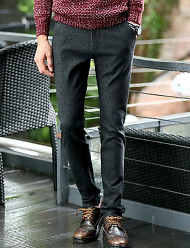 Miehet Yksinkertainen Mikroelastinen Chinos housut Housut,Hoikka Keski vyötäröYhtenäinen