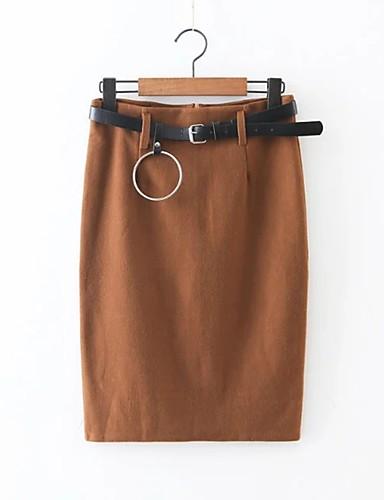 Damen Einfach Street Schick Mittlere Hüfthöhe Über dem Knie Röcke Stifte,Geschlitzt einfarbig