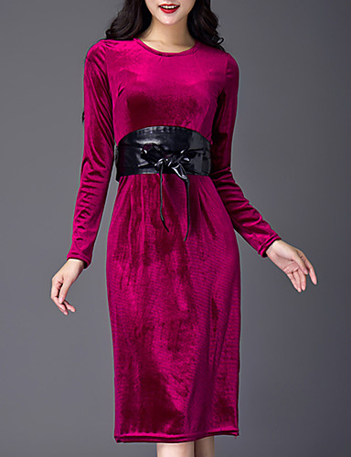 Damen Etuikleid Kleid-Ausgehen Lässig/Alltäglich Einfach Street Schick Solide Rundhalsausschnitt Knielang Langarm Kunst-Pelz Winter
