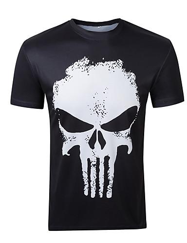 Herren Druck Einfach Aktiv Punk & Gothic Ausgehen Sport Urlaub T-shirt,Rundhalsausschnitt Kurzarm Weiß Schwarz Baumwolle Elasthan