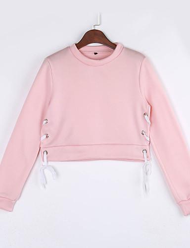 Dames Sexy Eenvoudig Casual/Dagelijks Sweatshirt Effen Uitgesneden Ronde hals Micro-elastisch Polyester Lange mouw Lente Herfst