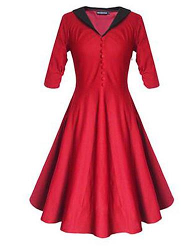 Damen Hülle Kleid-Lässig/Alltäglich Retro Solide V-Ausschnitt Übers Knie Baumwolle Frühling Sommer Hohe Hüfthöhe Mikro-elastisch Mittel