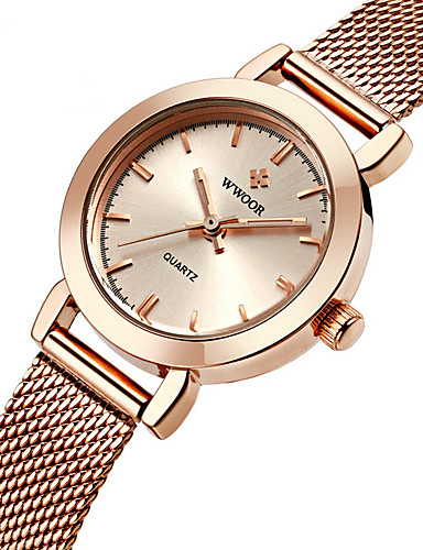 WWOOR Mulheres Quartzo Relógio de Pulso Impermeável Aço Inoxidável Banda Amuleto Luxo Casual Fashion Prata Dourada Ouro Rose
