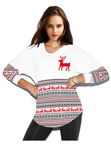 Damen Pullover Lässig/Alltäglich Einfach Druck Rundhalsausschnitt Mikro-elastisch Polyester Elasthan Lange Ärmel Herbst Winter