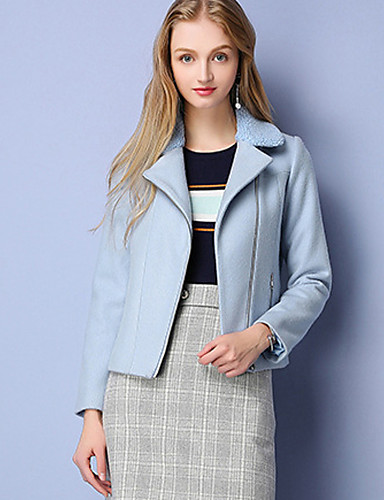 Damen Solide Einfach Lässig/Alltäglich Mantel,Winter Hemdkragen Langarm Blau Wolle Acryl