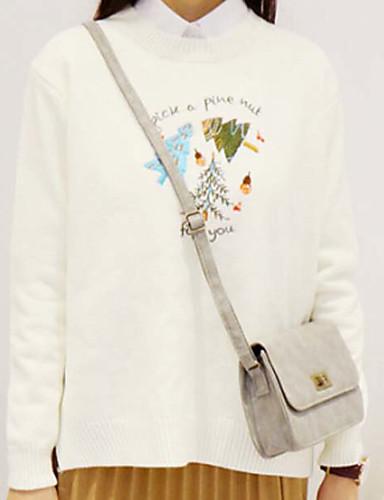 Damen Standard Pullover-Lässig/Alltäglich Einfach Druck Rundhalsausschnitt Langarm Kunst-Pelz Herbst Winter Mittel Mikro-elastisch