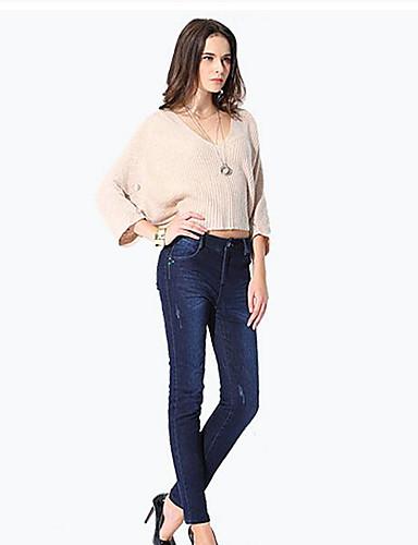 Damen Einfach Mittlere Hüfthöhe Micro-elastisch Jeans Schlank Skinny Hose einfarbig
