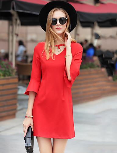 Damen A-Linie Kleid-Ausgehen Lässig/Alltäglich Einfach Street Schick Solide V-Ausschnitt Übers Knie ¾-Arm Baumwolle Alle SaisonsHohe