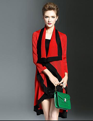 Damen Einfarbig Einfach Lässig/Alltäglich Mantel / Capes,Herbst Hemdkragen Langarm Rot Schwarz Grün Polyester