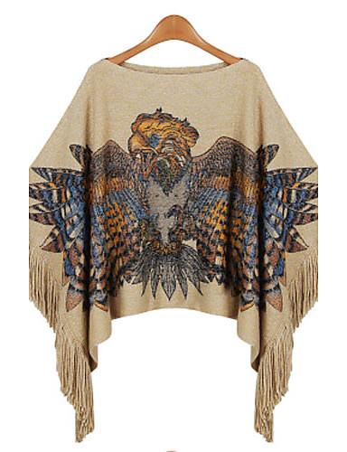 Damen Standard Pullover-Lässig/Alltäglich Einfach Druck Bateau Langarm Kunst-Pelz Herbst Winter Mittel Mikro-elastisch