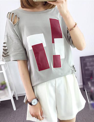 Kortærmet Rund hals Medium Dame Hvid Grå Ensfarvet Patchwork Forår Sommer Simpel Gade Afslappet/Hverdag T-shirt,Bomuld
