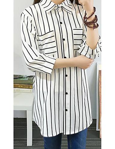 Damen Gestreift Einfach Lässig/Alltäglich Hemd,Hemdkragen Sommer Langarm Baumwolle Mittel
