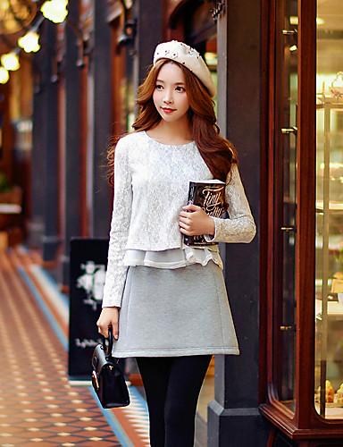 Damen Solide Patchwork Niedlich Street Schick Anspruchsvoll Ausgehen Lässig/Alltäglich Urlaub T-shirt,Rundhalsausschnitt Frühling Herbst