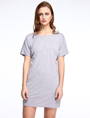 Mulheres Bandagem Vestido,Férias Sofisticado Sólido Gola Redonda Mini Manga Curta Preto / Cinza Algodão Verão