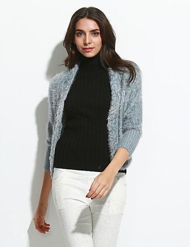 Dame Sødt I-byen-tøj Normal Cardigan Ensfarvet,Rosa Hvid Grå Lilla V-hals Langærmet Uld Forår Efterår Medium Mikroelastisk