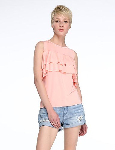 Casual/hétköznapi Utcai sikk Aszimmetrikus-Női Póló,Egyszínű Nyári Rövid ujjú Rózsaszín Pamut / Len Közepes vastagságú