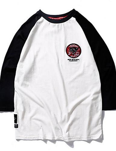 Herren Druck Einfach Aktiv Ausgehen Lässig/Alltäglich Strand T-shirt,Rundhalsausschnitt ¾-Arm Weiß Baumwolle Dünn