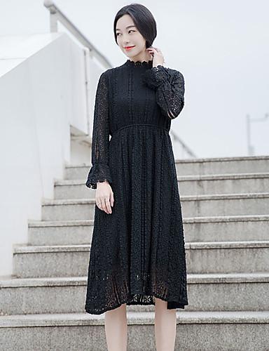 Damen Spitze Kleid-Ausgehen Niedlich Solide Rundhalsausschnitt Midi Langarm Weiß Schwarz Polyester Frühling Herbst Hohe Hüfthöhe