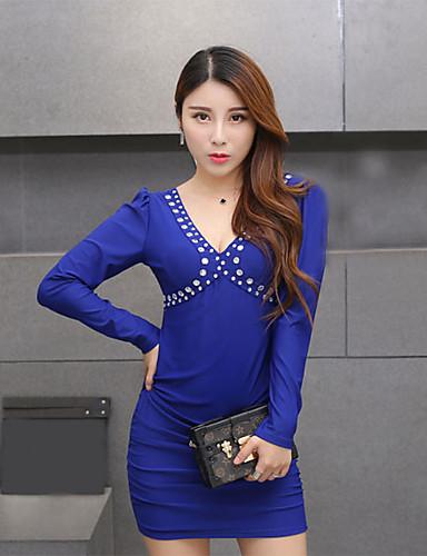 Damen Bodycon Kleid-Ausgehen Sexy Retro Solide V-Ausschnitt Mini Langarm Blau Kunstseide Frühling Herbst Mittlere Hüfthöhe Unelastisch