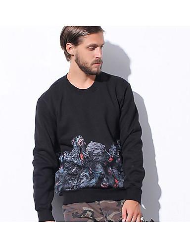 Herren Einfarbig Retro Ausgehen Lässig/Alltäglich T-shirt,Rundhalsausschnitt Herbst Winter Langarm Baumwolle Dick