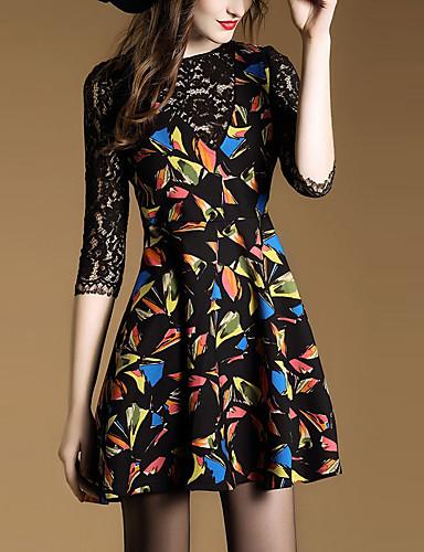 女性 ストリートファッション お出かけ Aライン ドレス,プリント ラウンドネック 膝上 七部袖 ブラック ポリエステル 春 ミッドライズ マイクロエラスティック ミディアム