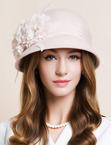 billige Hatte & Imponeringer-Ull / Chiffon / Fjær Kentucky Derby Hat / fascinators / Hatter med Blomster 1pc Bryllup / Spesiell Leilighet / Avslappet Hodeplagg