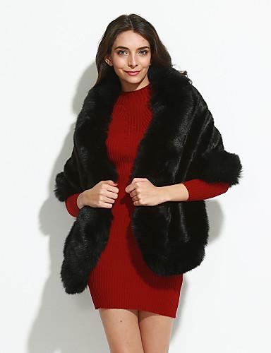 Alkalmi Vintage Téli-Női Szőrmekabát Piros Fehér Fekete Műszőrme