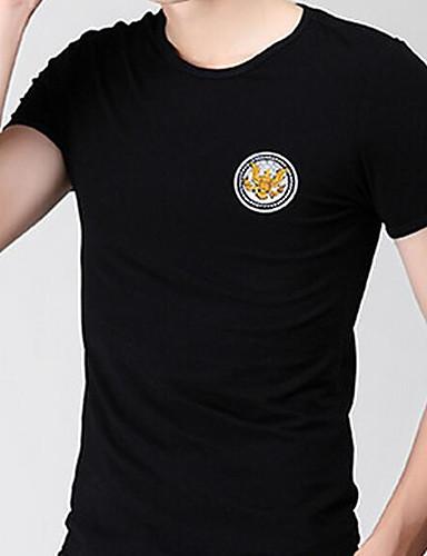 Herren Solide Einfach Lässig/Alltäglich T-shirt,Rundhalsausschnitt Sommer Kurzarm Baumwolle Mittel