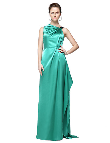 Funda / Columna Un Hombro Hasta el Suelo Satén Estirado Estilo de Celebridad Evento Formal Vestido con Plisado por TS Couture®