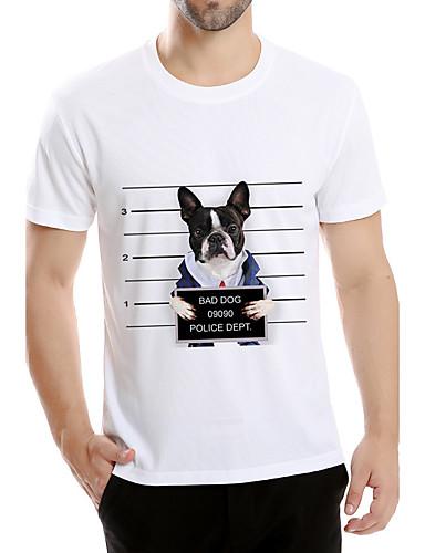 Herren Tierfell-Druck Einfach Aktiv Punk & Gothic Ausgehen Sport Urlaub T-shirt,Rundhalsausschnitt Kurzarm Weiß Baumwolle Elasthan