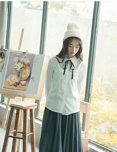 Damen Solide Niedlich Ausgehen Lässig/Alltäglich T-shirt,Rundhalsausschnitt Langarm Weiß Kunstseide