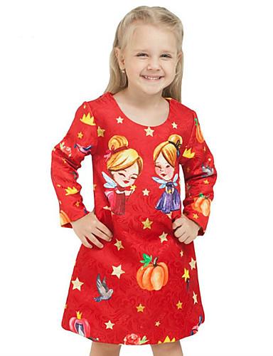 Mädchen Kleid Ausgehen Formal Druck Frühling Herbst Lange Ärmel