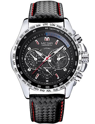 MEGIR Homens Quartzo Digital Relógio de Pulso Relógio Militar Relógio Esportivo Calendário Couro Legitimo Banda Amuleto Luxo Vintage
