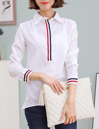 6637332004342e Koszula Damskie Bawełna Praca Kołnierzyk koszuli Solidne kolory Biały L /  Wiosna / Jesień