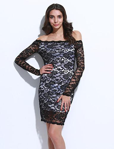 Kadın's Bandaj Elbise - Solid, Dantel Düşük Omuz Mini