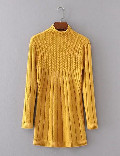 Damen Hülle Strickware Kleid-Ausgehen Lässig/Alltäglich Einfach Street Schick Solide Rundhalsausschnitt Übers Knie LangarmKunstseide