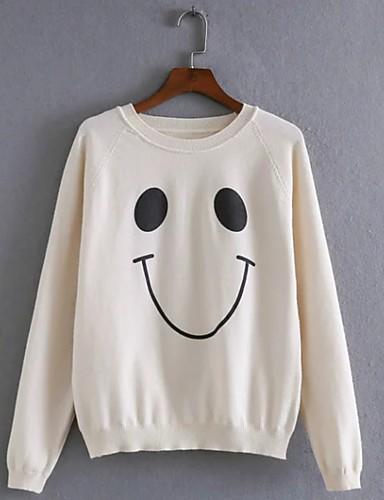 Damen Standard Pullover-Ausgehen Lässig/Alltäglich Einfach Street Schick Druck Rundhalsausschnitt Langarm Acryl Polyester Elasthan