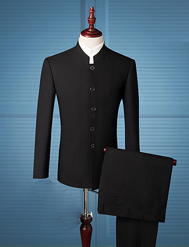 Men's Chinoiserie Slim Suits - Solid Colored, Basic Stand