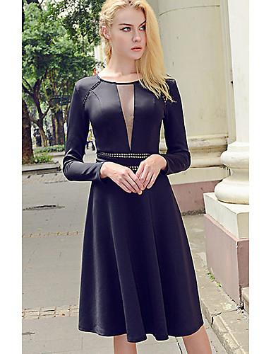 Damen Swing Kleid-Lässig/Alltäglich Einfach Solide Rundhalsausschnitt Übers Knie Langarm Polyester Herbst Mittlere Hüfthöhe