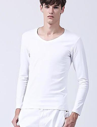 Herren Solide Einfach Ausgehen Lässig/Alltäglich T-shirt,Rundhalsausschnitt Frühling Herbst Langarm Weiß Baumwolle