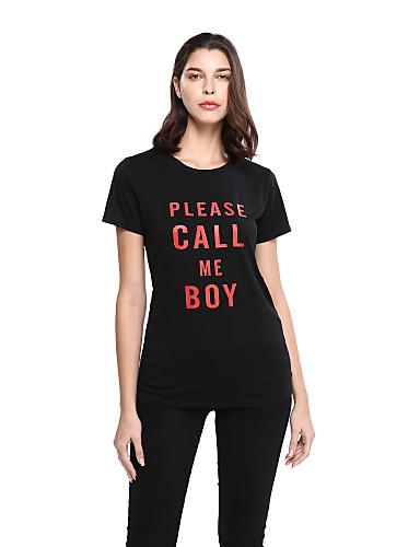 Damen Buchstabe Aktiv Ausgehen Lässig/Alltäglich T-shirt,Rundhalsausschnitt Langarm Schwarz Baumwolle Polyester