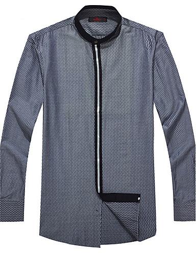Herren Punkt Street Schick Lässig/Alltäglich Hemd,Ständer Winter Langarm Polyester Mittel
