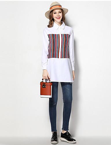 Damen Druck Einfach Strand Hemd,Hemdkragen Frühling Langarm Baumwolle Mittel