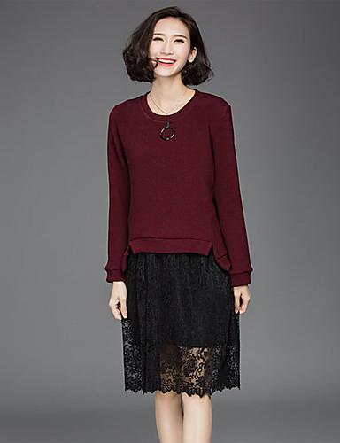 Damen Spitze Kleid-Ausgehen Lässig/Alltäglich Einfach Patchwork Rundhalsausschnitt Knielang Langarm Rot Braun Polyester Frühling Herbst