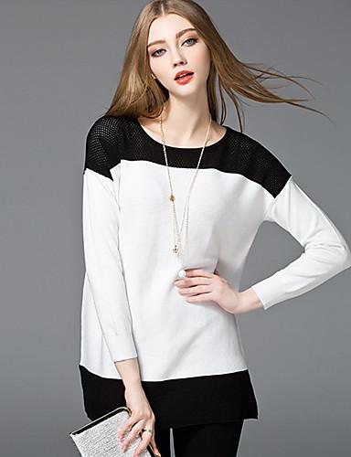 Damen Kurz Pullover-Ausgehen Lässig/Alltäglich Einfach Niedlich Einfarbig Blau Weiß Rundhalsausschnitt Langarm Nylon Frühling Mittel