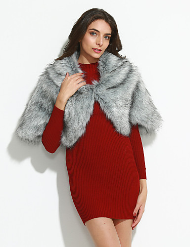 Women's Fashion Faux Fur Cloak/Capes-Solid Colored