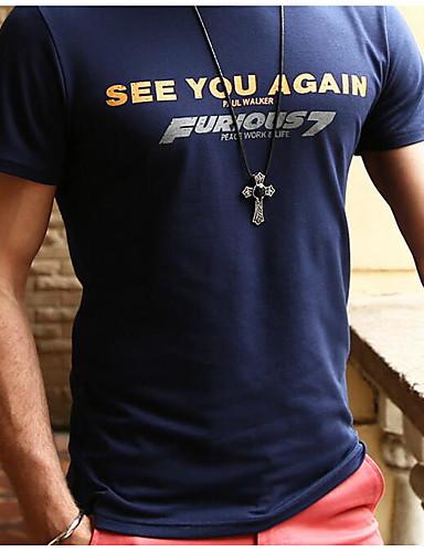 Herren Solide Street Schick Lässig/Alltäglich T-shirt,Rundhalsausschnitt Kurzarm Blau Schwarz Baumwolle